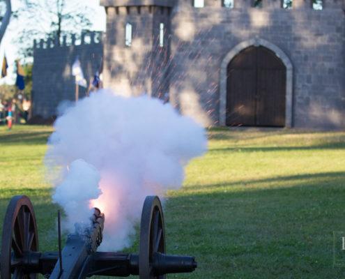 Condottieri's cannon firing at the castle