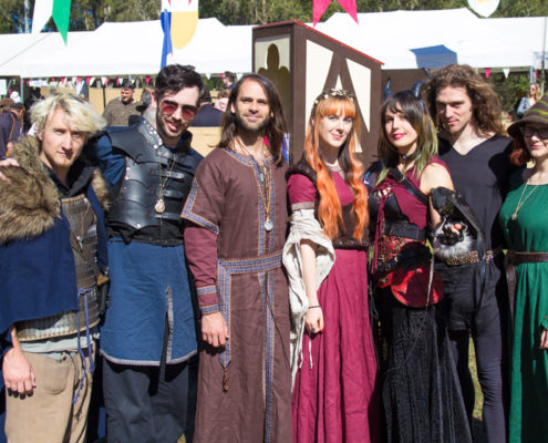 Group of festival patrons in costume