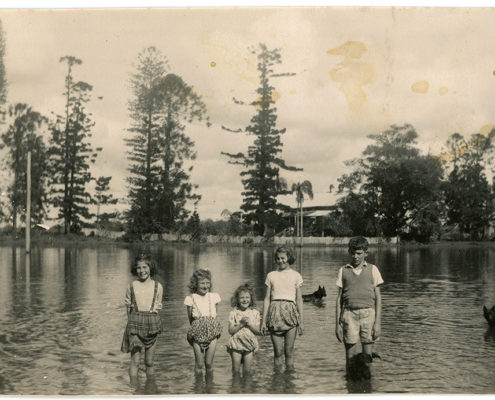 Heritage photo of people at lagoon