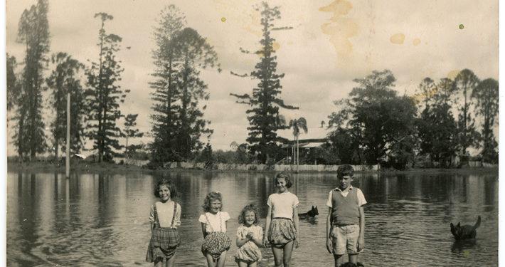 Heritage photo of people at lagoon