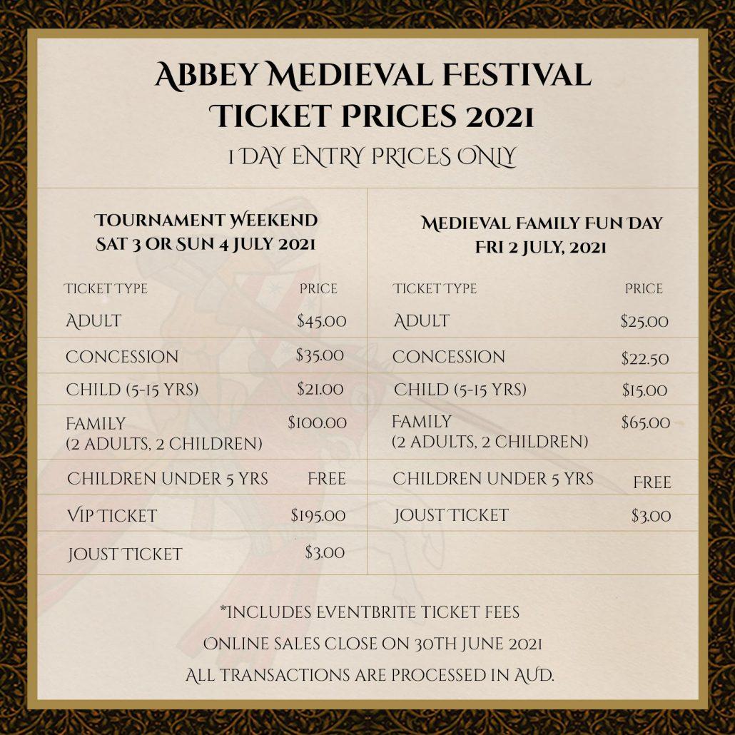 Ticket price graphic